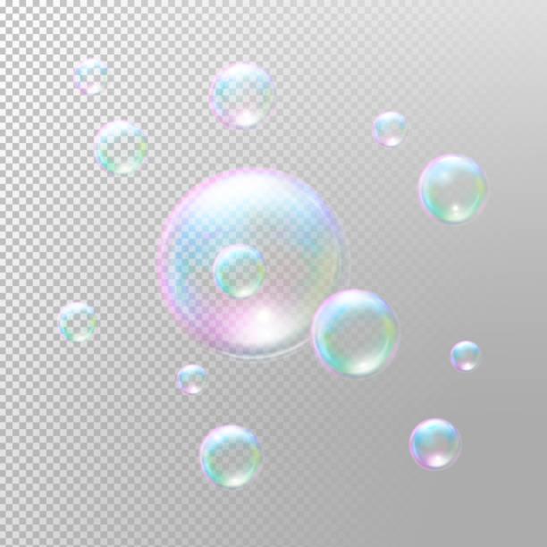 Seifenblasen. Transparente Seife Blasen. Realistische Seife Blasen – Vektorgrafik
