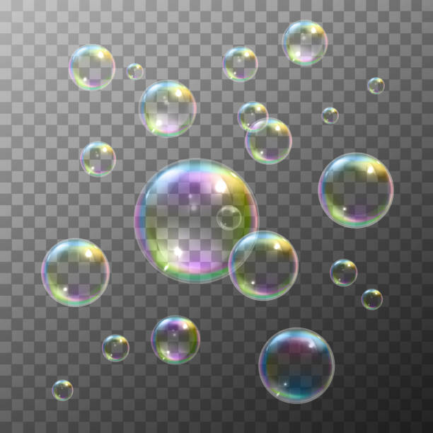 soap bubbles Realistic soap bubbles with rainbow reflection set isolated vector illustration bubble stock illustrations