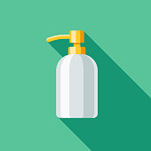 A colored flat design housekeeping and cleaning supplies icon with a long side shadow. Color swatches are global so it's easy to edit and change the colors.