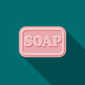 Soap Flat Design Beauty Icon with Side Shadow