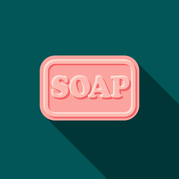 Soap Flat Design Cleaning Icon with Side Shadow vector art illustration