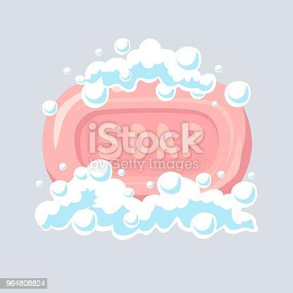 Soap flat icon, soap bubbles, vector illustration.