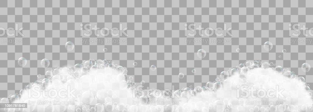 Soap foam and bubbles on transparent background. Vector illustration - Grafika wektorowa royalty-free (Abstrakcja)