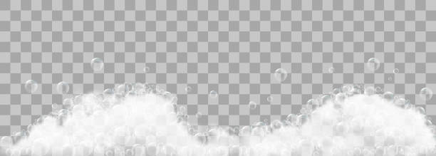 soap foam and bubbles on transparent background. vector illustration - backgrounds silhouettes stock illustrations