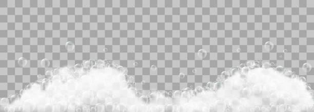 seifenschaum und luftblasen auf transparentem hintergrund. vektor-illustration - blasen stock-grafiken, -clipart, -cartoons und -symbole