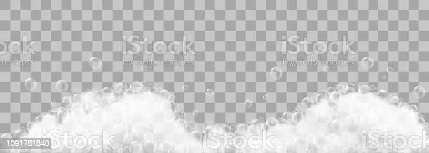 Soap Foam And Bubbles On Transparent Background Vector Illustration - Stockowe grafiki wektorowe i więcej obrazów Abstrakcja
