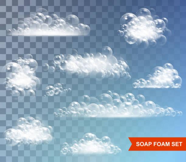 illustrations, cliparts, dessins animés et icônes de mousse de savon à bulles isolées vector illustration sur fond transparent - mousse d'emballage