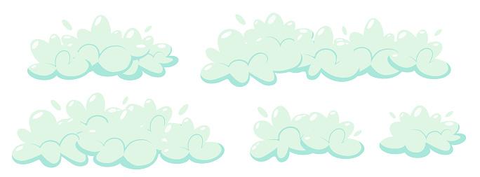 Soap foam with bubbles. Set of cartoon shampoo and soap foam sud. Vector illustration
