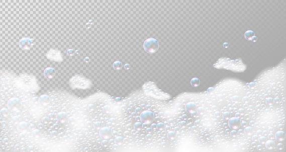 Soap foam with bubbles. Vector illustration