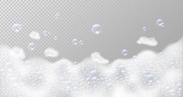 泡が付いている石鹸フォーム。ベクトルの図 - 楽しい 洗濯点のイラスト素材/クリップアート素材/マンガ素材/アイコン素材