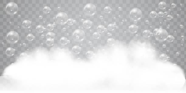 illustrations, cliparts, dessins animés et icônes de mousse de savon avec fond de bulles réalistes pour votre conception. détergent à lessive ou concept de shampooing pour le bain. illustration vectorielle. - mousse d'emballage