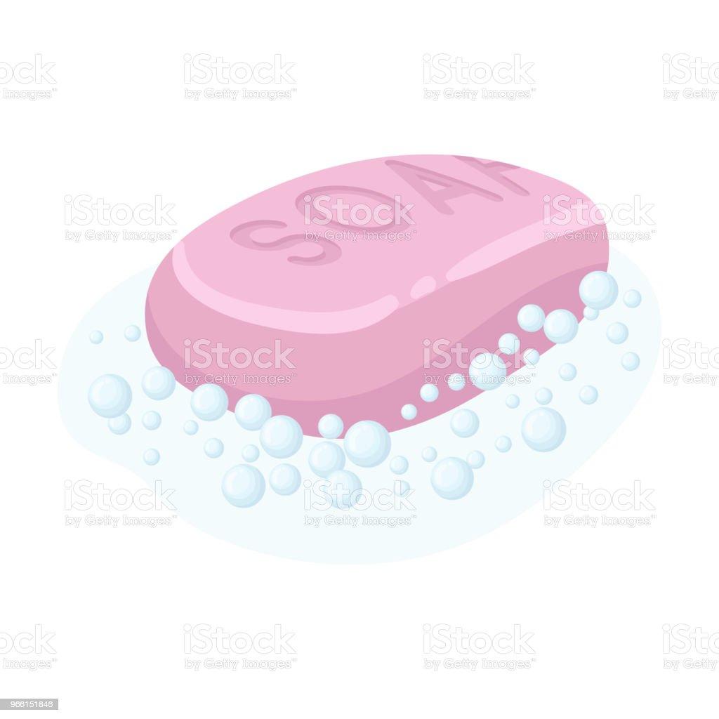 Tvål-ikonen i tecknad stil isolerad på vit bakgrund. Rengöring symbol lager vektorillustration. - Royaltyfri Design vektorgrafik