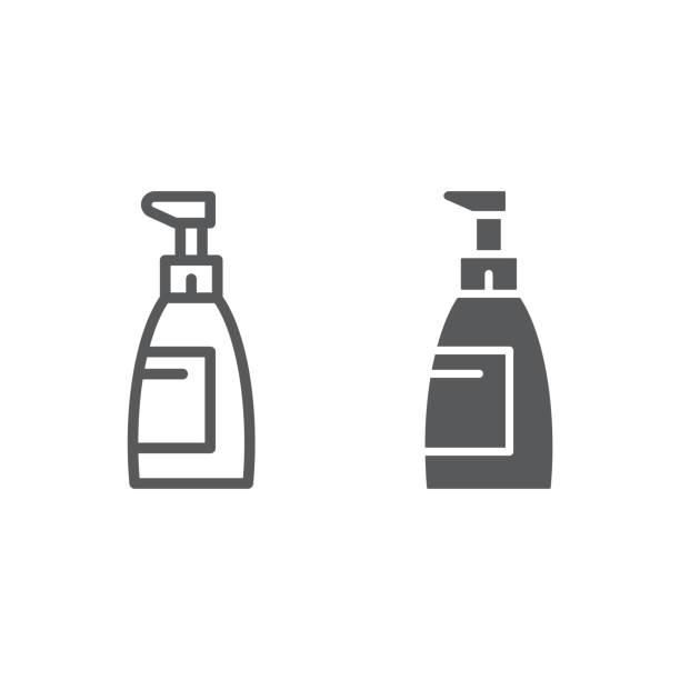 石鹸のラインとグリフ アイコンは、化粧品や洗浄、サイン、ベクトル グラフィックス、白い背景の上の線形パターンをボトルします。 - 体 洗う点のイラスト素材/クリップアート素材/マンガ素材/アイコン素材