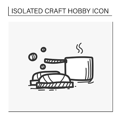 Soap making hand draw icon