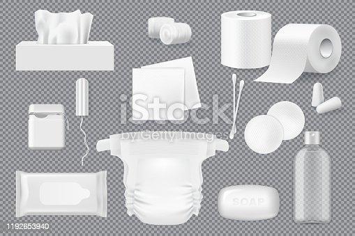 istock Soap, napkin, cotton pad and swab 3d mockups 1192653940