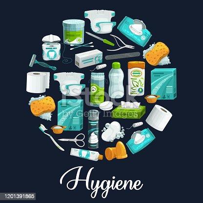 istock Soap, sponge, toothpaste hygiene product icons 1201391865