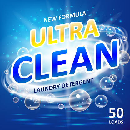 Soap ultra clean design product. Toilet or bathroom tub cleanser. Wash soap background design. Laundry detergent package ads. Washing machine laundry detergent packaging template. Vector illustration