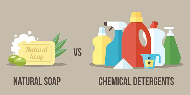 soap vs detergents - disinfectant stock illustrations