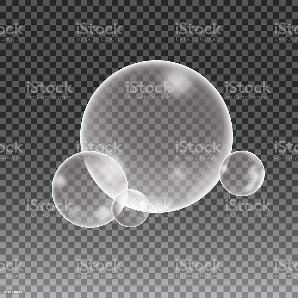 Soap water bubbles on checkered background vector art illustration