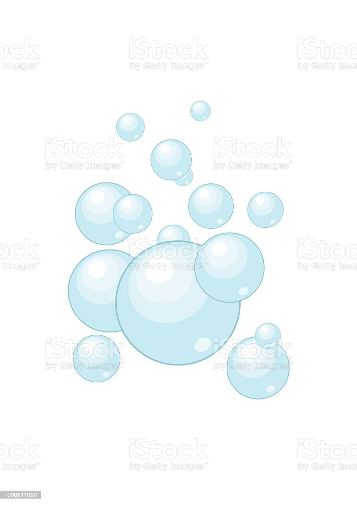 Soap water bubbles washing isolated on white background vector art illustration