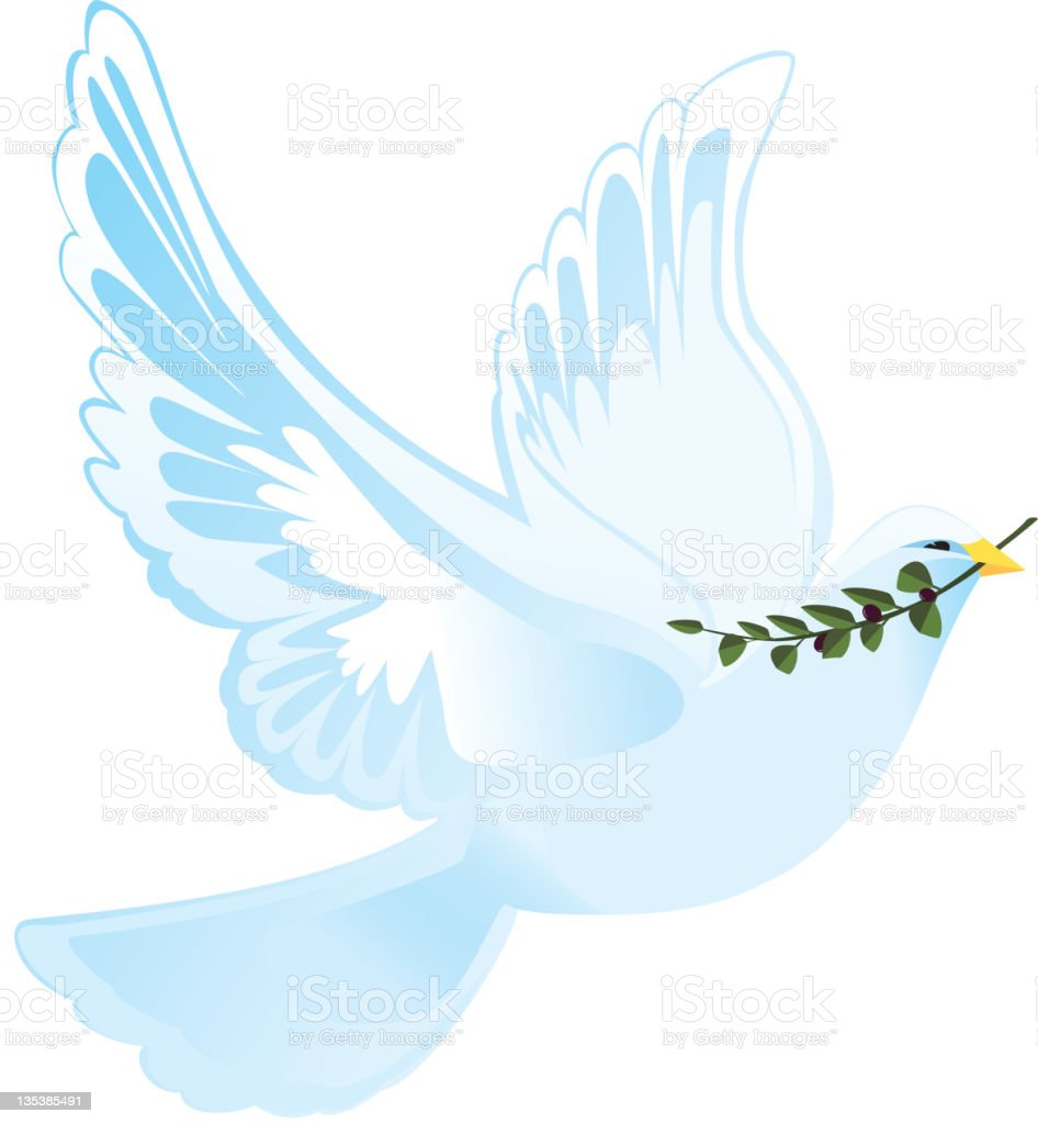 Soaring Dove of Peace and Olive Branch royalty-free stock vector art