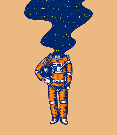 Soaring Spaceman. Space and galaxy in the head. Astronaut in the solar system. Engraved hand drawn Old sketch in vintage style