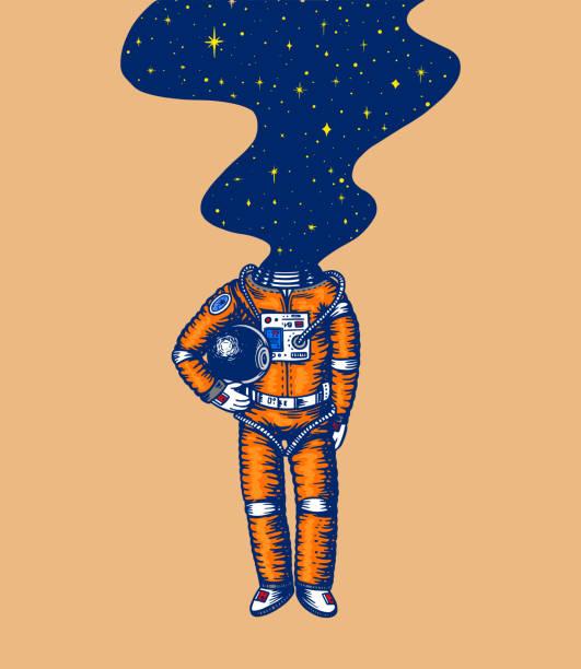stockillustraties, clipart, cartoons en iconen met stijgende spaceman. ruimte en melkweg in het hoofd. astronaut in het zonnestelsel. gegraveerde hand getekende oude schets in vintage stijl - ruimte exploratie
