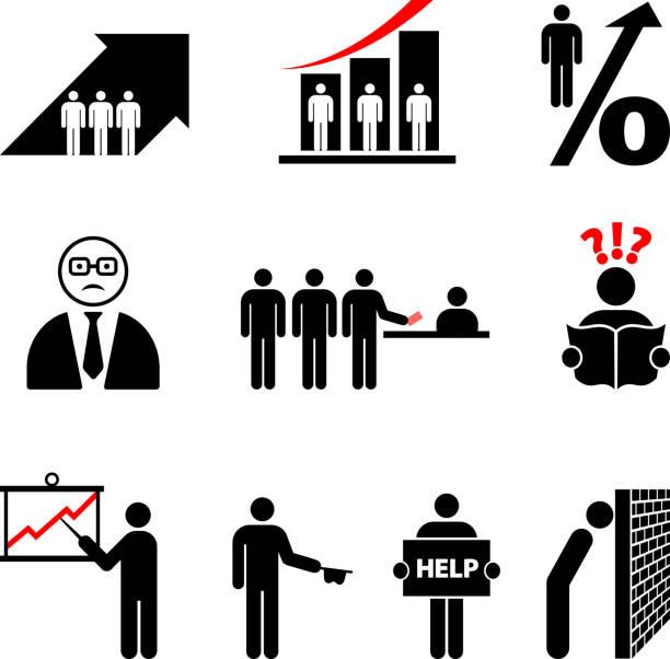 hohe arbeitslosigkeit - arbeitsvermittlung stock-grafiken, -clipart, -cartoons und -symbole