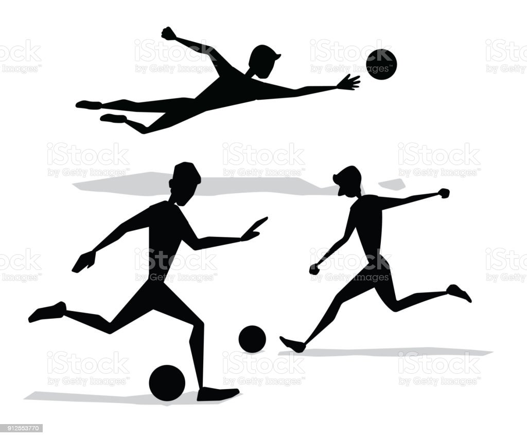 soccer activity silhouette cartoon design vector art illustration