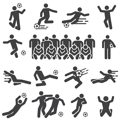 Soccer and football players action solid icons set
