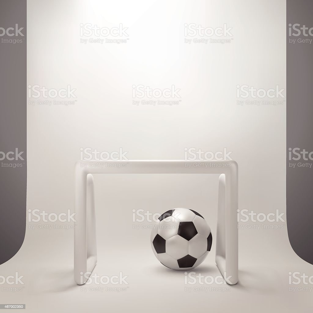 Illustration of Soccer and goal with white backdrop studio light,...