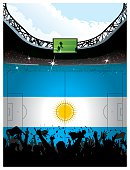 Soccer arena over Argentinian flag space for copy.