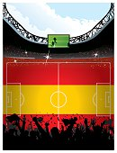 Soccer arena over Spanish flag space for copy.