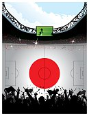 Soccer arena over Japanese flag space for copy.