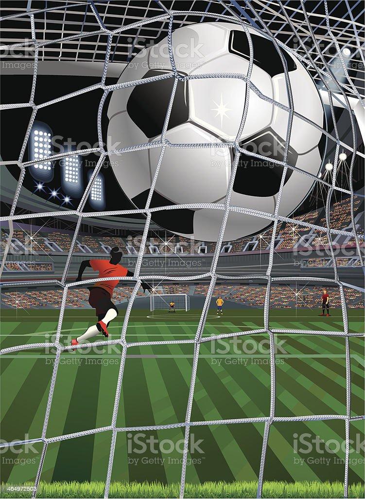 Ataque Gol de futebol - ilustração de arte em vetor