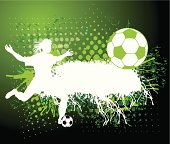 """Grunge graphic silhouette background illustration of a female soccer player. Check out my """"Spring Sports"""" light box for more."""