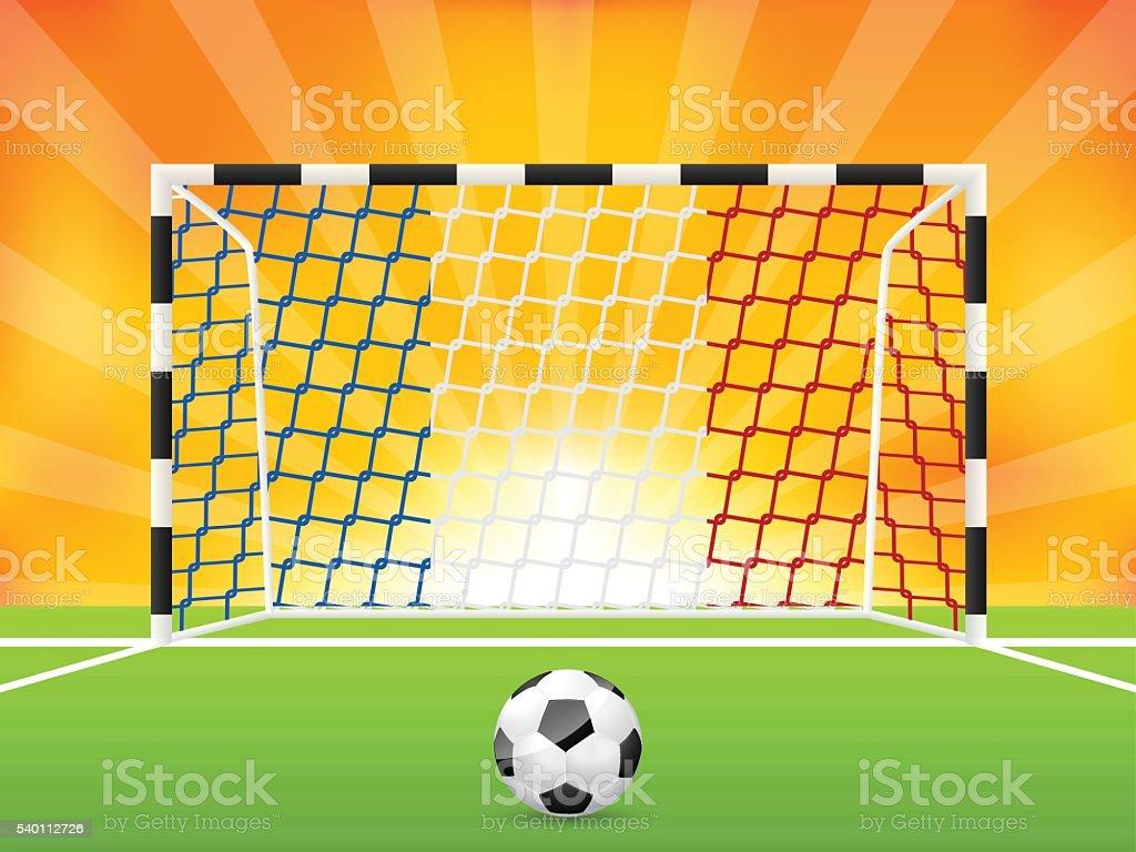 Fussball Hintergrund Mit Franzosischer Flagge Netto Stock