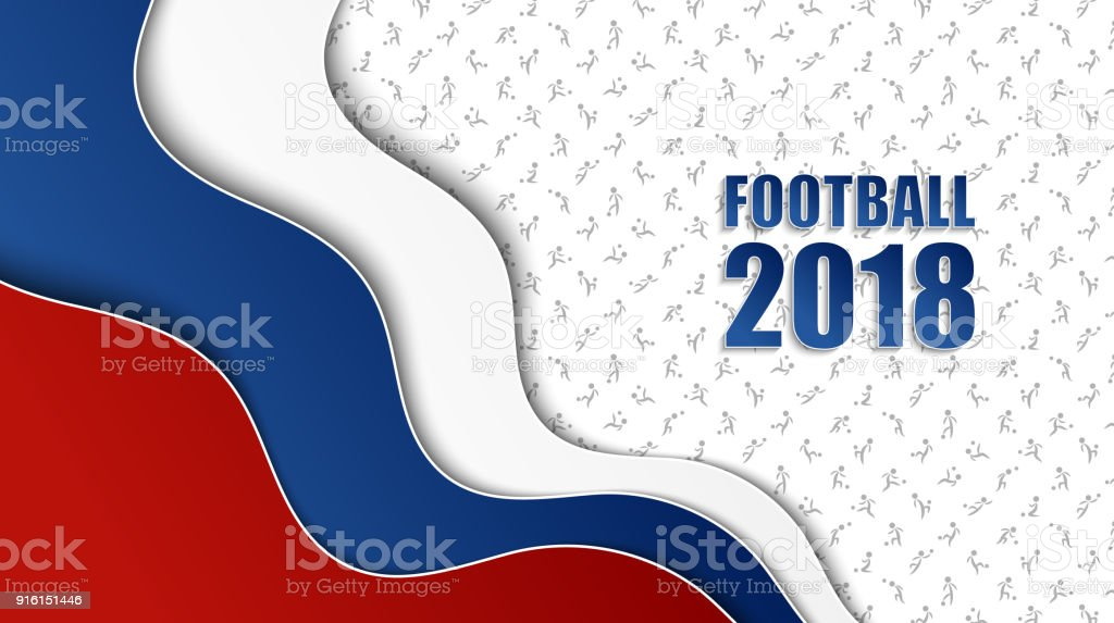 Soccer background with Russian national flag colors and different football players pattern vector art illustration