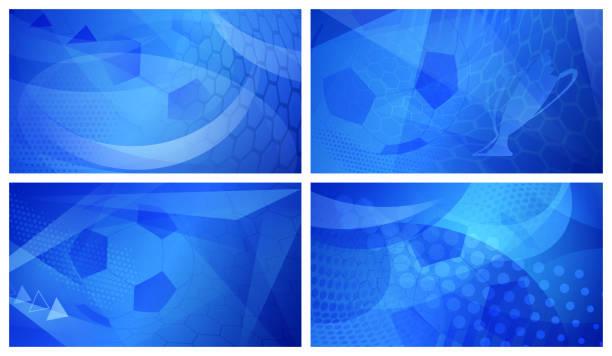 bildbanksillustrationer, clip art samt tecknat material och ikoner med fotboll bakgrunder i blå färger - soccer