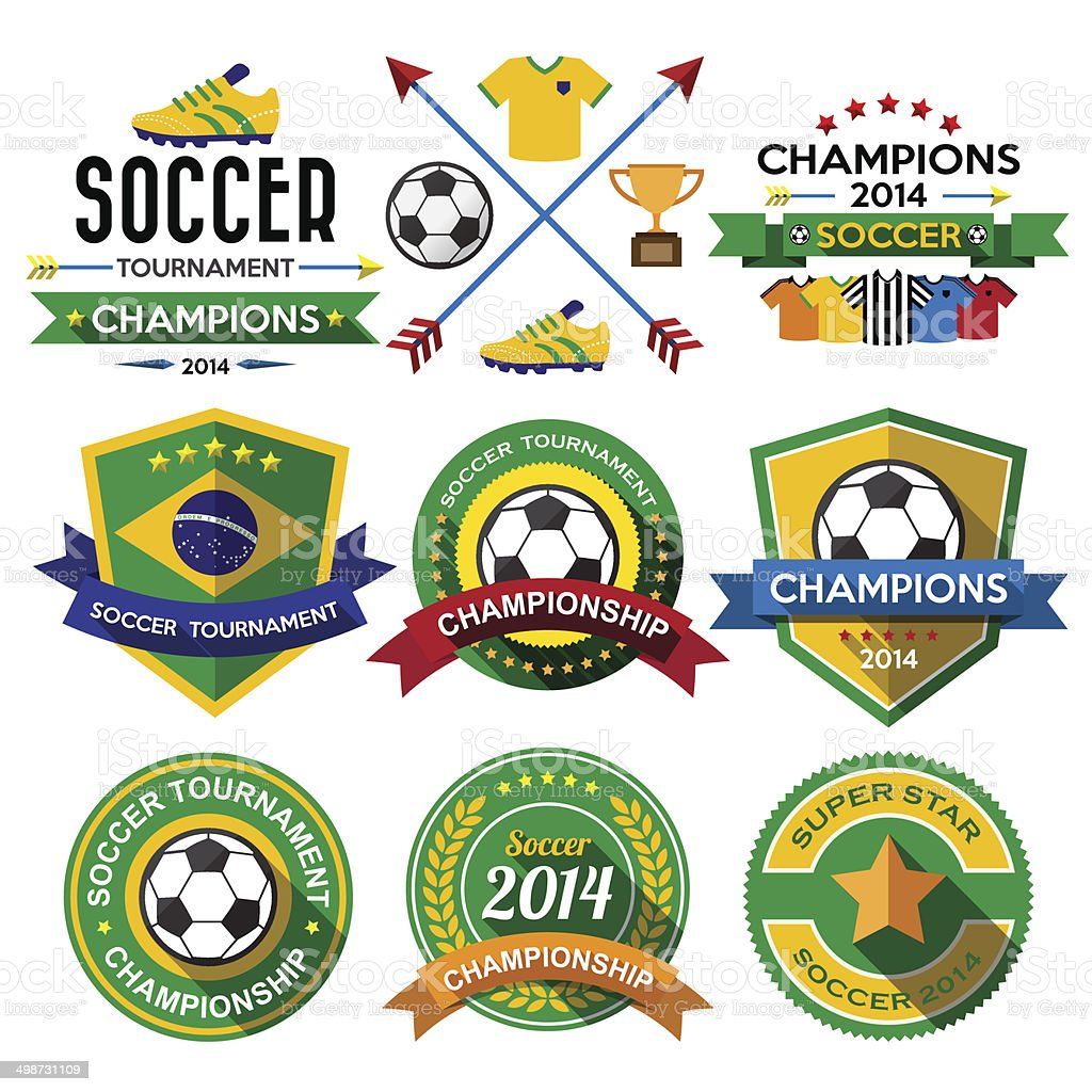 Soccer ( Football ) badge and labels. vector art illustration
