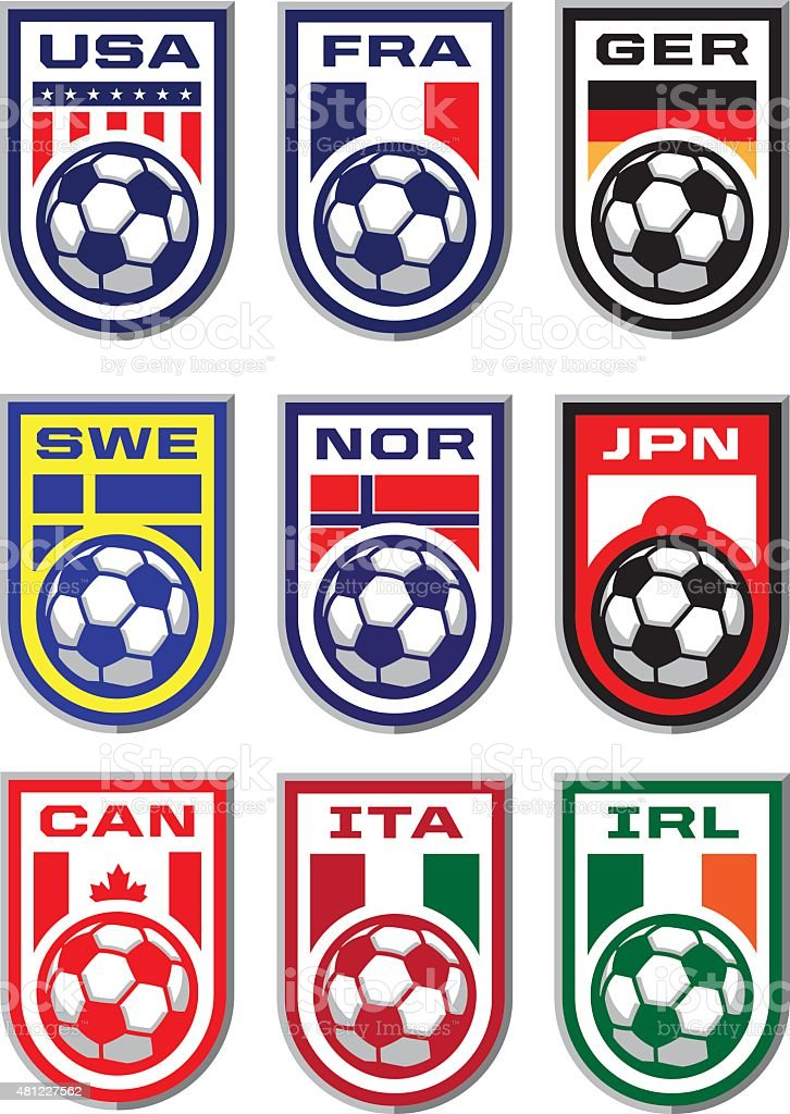 Soccer Badges vector art illustration