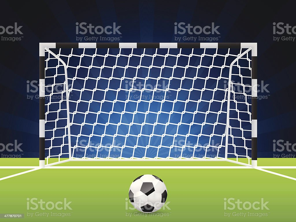 Soccer ball and gate with net vector art illustration