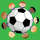 Vector illustration of a soccer ball and a boys children team.
