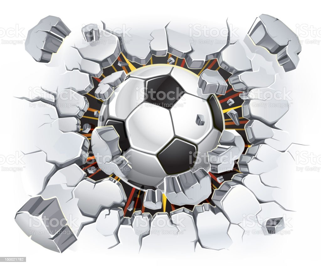 Soccer ball and Old Plaster wall damage. royalty-free stock vector art