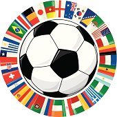 Vector illustration of a soccer ball surrounded by a ring of flags from all the countries that will play the 2014 soccer championship in Brazil.