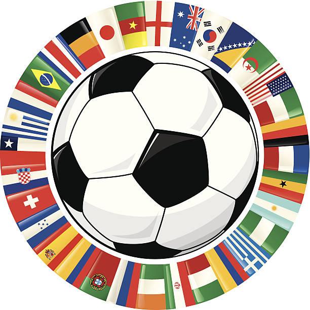 Pelota de fútbol y anillo de banderas de campeonato mundial de fútbol 2014 - ilustración de arte vectorial