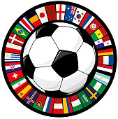 Soccer Ball and Ring of World Flags Soccer