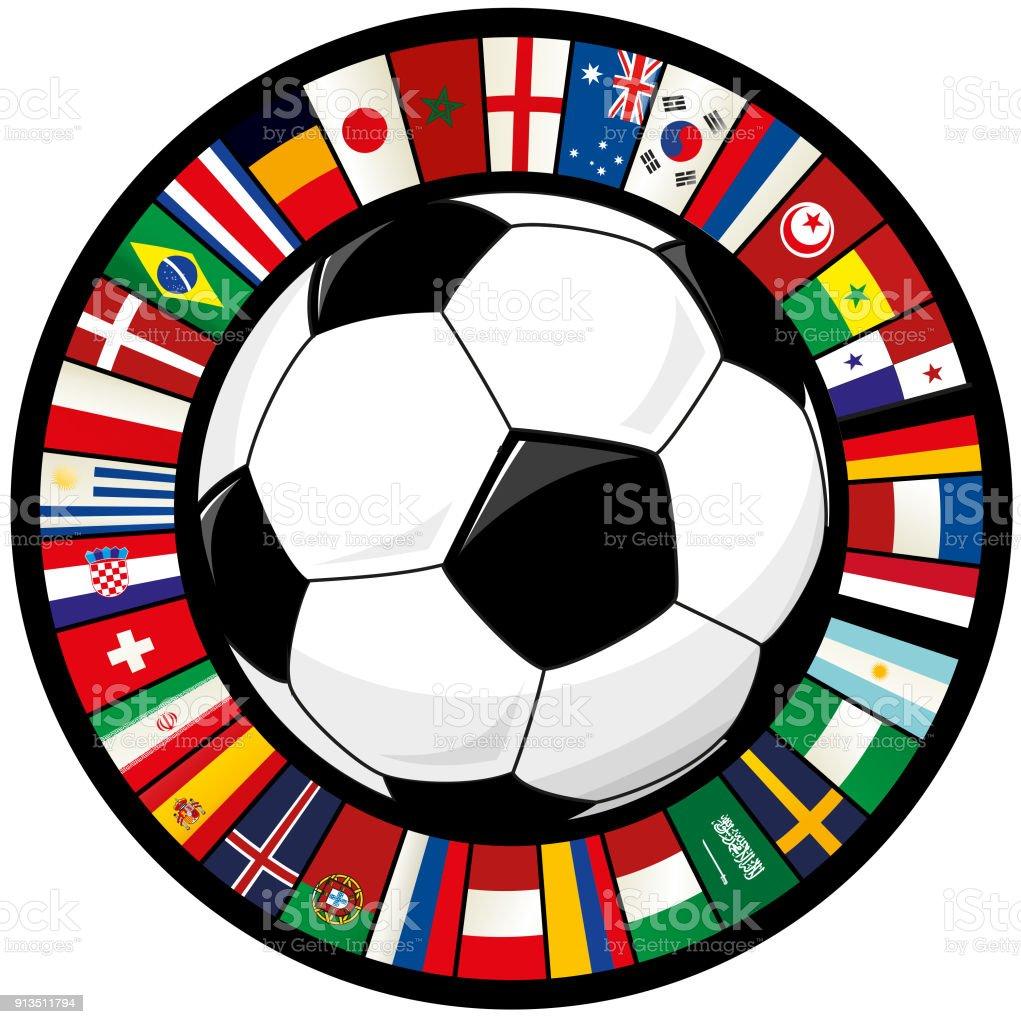 Balón de fútbol y el anillo del fútbol de banderas del mundo - ilustración de arte vectorial
