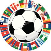 Vector illustration of a soccer ball surrounded by a ring of flags.  The flags represent all the countries that will play in the next World Cup in South Africa.