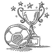 Soccer Ball And Trophy Drawing
